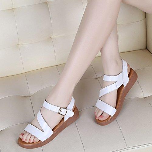 XY&GKSandalen Damen Sommer Leder flach mit Frauen Sandalen Rutschfeste Flachbild Hausschuhe, komfortabel und schön 35 white (sandals)