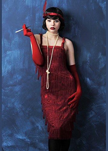 Sancto Ladies Brüllen 20s Red Fringed Flapper Kostüm L (UK 12-14)