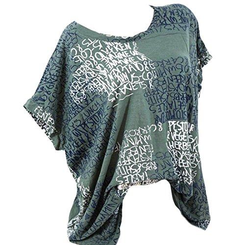 OverDose Damen Blumen Spitze Tops Frauen Kurzarm V-Ausschnitt Spitze Gedruckte Lose T-Shirt Bluse Oberteile Tees Shirt(Y-Green,4XL) (Cashmere-zip-kapuzen-pullover)