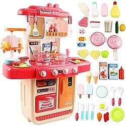 deAO Set de Cuisine 'Mon Petit Chef' avec 34 Accessoires, Plaque de Cuisson à Induction, Eau, Lumière et Son (Rose)