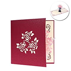 Idea Regalo - NUOLUX Vaso di fiori 3D Pop Up scheda di regalo Handmade Greeting Card (rosa)