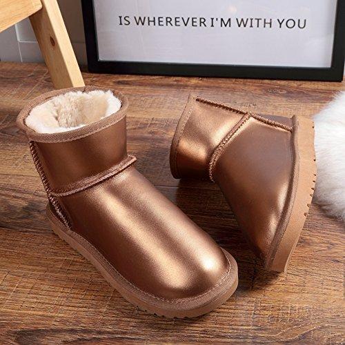SQIAO-X- In pelle impermeabile metallo snow boots, spessa invernale non-slip stivali off del colore puro scarpe donna caldo cotone scarpe Il verde