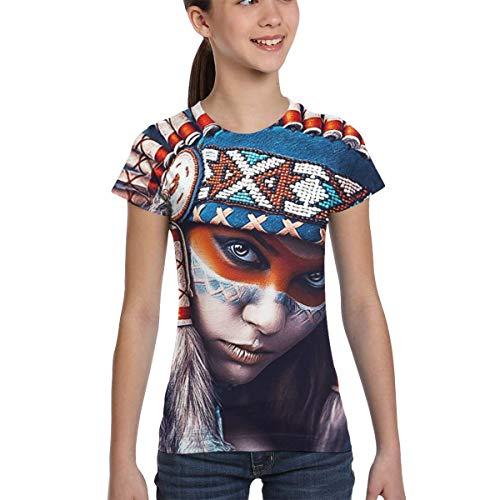 Johnson hop Native American Girl Tattoo Design Teenager Mädchen Jugend Kurzarm T-Shirt T-Shirts(S,Schwarz) -
