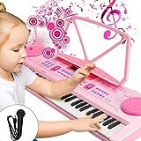 WOSTOO Enfants Piano, Chargable Clavier Piano, 61 Touches Portable Musique Clavier Électronique Organe Numérique Piano Musical Instrument avec Microphone pour Enfants Garçon Filles Cadeau - Rose