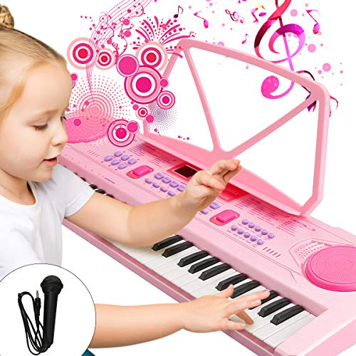WOSTOO Kinder Keyboard, Multifunktions Digital Piano 61 Tasten Keyboard Set mit Mikrofon Notenständer Für Kinder Geschenk,ideal für Kinder, Musikalisches Spielzeug - Rosa