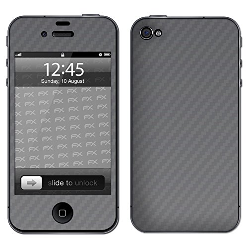 "Skin Apple iPhone 4 / 4s ""FX-Carbon-Black"" Sticker Autocollant FX-Carbon-Silverdark"