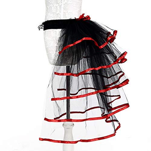 Vivianu Damen Ballettrock Tüllschwanz, kontrastierende Farbe, Satin-Einfassung, geschichtete Rüschen, Kuchen, Party, Bustle Unterrock -