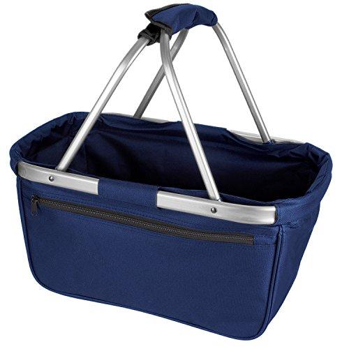 Stabiler, faltbarer Einkaufskorb mit Reißverschlusstasche - OneSize - Dunkelblau