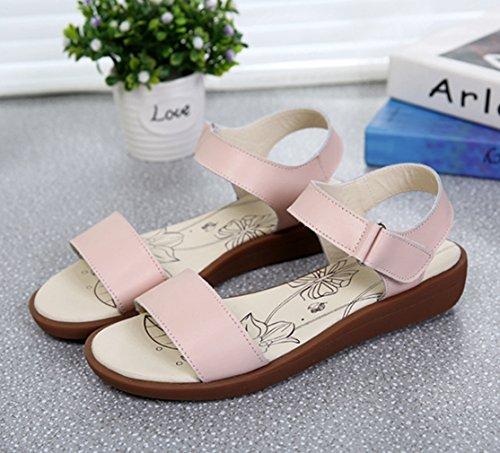 Damen Sandalen Schnalle Römische Stil Slingback Flache Atmungsaktiv Komfort Sommer Freizeit Schuhe Pink