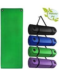 Esterilla colchoneta –de yoga – HARMONY PROFESSIONAL 180 cm x 60 cm x 1.5 cm con ojales practicales para fitness deportiva pilates gimnasia ejercicio, Color:Natural Green
