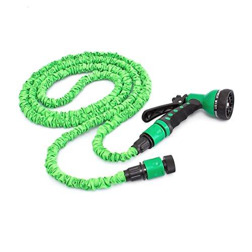 Relaxdays Flexibler Gartenschlauch 7,5m ausgedehnt mit Sprühpistole und 7 Funktionen, grün