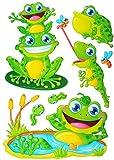 7 tlg. Set: XL 3-D ! Wandtattoo / Fensterbild / Sticker - Frösche - wasserfest beschichtet - selbstklebend Pop-Up Aufkleber Wandsticker - Frosch - aus Folie / Kaulquappen am Teich - z.B. für Bad / Badezimmer