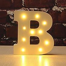 Letra&Decorativa con luz LED,DINOWIN Alfabeto de madera,funciona con pilas LED Luces de Letra Signo fiesta boda decoración Hogar Fiesta Cumpleaños Cafeterías Decoración Alfabeto -- Blanco Cálido (B)