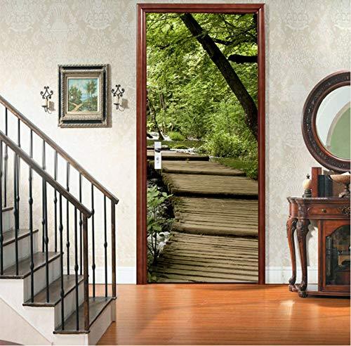 Türaufkleber Kreative 3D Holz Brücke Tür Aufkleber Diy Mural Selbstklebende Tapete Abnehmbare Wasserdichte Poster Aufkleber Wohnkultur Abziehbilder (Holz-finish Reparieren)