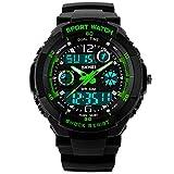 Jugendliche Kinderuhren | Digital Uhren für Kinder Jungen | Wasserdicht Outdoor Sports Digitaluhren Analog Armbanduhr mit Wecker/Timer / LED-Licht (Schwarz Grün)