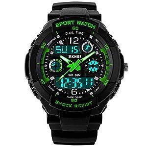 Jugendliche Kinderuhren   Digital Uhren für Kinder Jungen   Wasserdicht Outdoor Sports Digitaluhren Analog Armbanduhr mit Wecker/Timer / LED-Licht