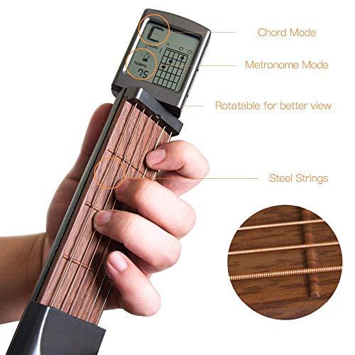 Hamkaw Gitarren-Akkord-Trainer mit drehbarem Bildschirm, geräuscharm, 6 Bünde, tragbares Übungswerkzeug für Anfänger, integriertes Metronom, Saitenspannung verstellbar