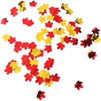 MagiDeal 15 g Confeti en Forma de Hojas de Arce Brillante de Plástico para Boda Decoración de Fietsa - Dorado y rojo
