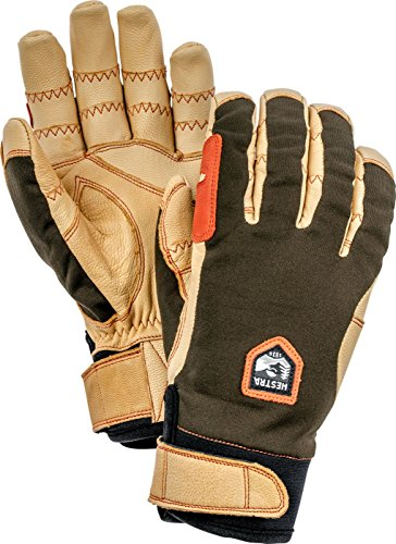 Hestra Outdoor Work Gloves: Ergo Grip Riding Cold Weather Gloves, Dark Forest/Natural Brown, 9