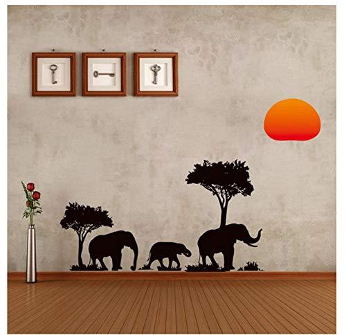 Baum Elefanten Sonnenaufgang Wandaufkleber Wohnzimmer Dekor Safari Diy Abziehbilder Tiere Pflanze Afrikanischen Stil Wandbild Kunst Peel & Stick (Wohnzimmer Für Safari-dekor)