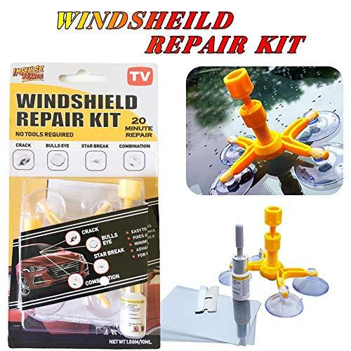 Windschutzscheiben-Reparaturset, DIY Auto Windschutzscheibe, Chip Reparatur DIY Kit Windschutzscheibe, Rissreparatur Fensterscheibe, Risse & Kratzer mit Saugnapf.