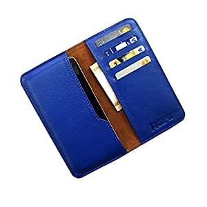i-KitPit : Genuine Leather Wallet Flip Pouch Case For Micromax Canvas HD A116 (BLUE)