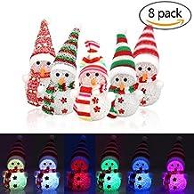 8 Paquetes de luz de Noche de Navidad, Forma de muñeco de Nieve LED luz