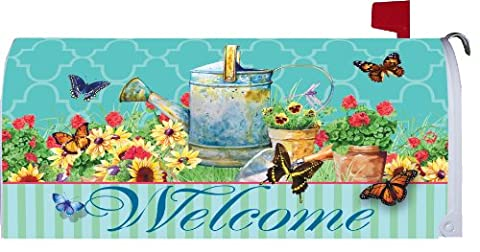 Watering Can Butterflies 1964MM Magnetic Mailbox Cover Wrap