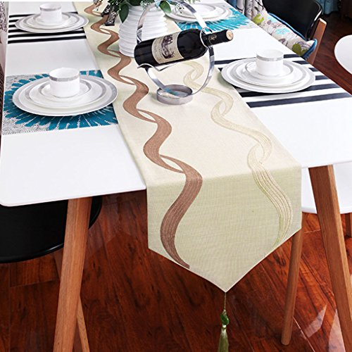 BSNOWF-Chemin de table Table Runner Coton Chanvre Tissu Art Stripe Table De Thé Drapeau Chevet Serviette Hôtel Simple Moderne ( taille : 34*180cm )