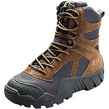 FREE SOLDIER Hombres militares high-top Zapatos táctico senderismo botas cordones Trabajo Combate todos los terrenos Botas resistente al agua 3 colores,Wolf-Brown, 43