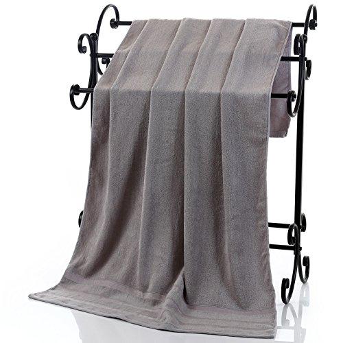 Holzkohle Grau Streifen (Bambusfaser Handtuch dicken weichen, saugfähigen Bambus Holzkohle Hotel erwachsene Männer und Frauen und Kinder Brust Baby Badetuch, Handtuch, Doppel-Grau)