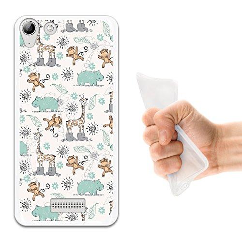 WoowCase Wiko Selfy 4G Hülle, Handyhülle Silikon für [ Wiko Selfy 4G ] Tiere Giraffe, AFFE & Nashorn Handytasche Handy Cover Case Schutzhülle Flexible TPU - Transparent