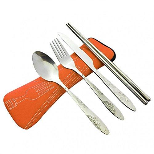 4pz portatile in acciaio INOX coltello forchetta cucchiaio bacchette campeggio viaggio per posate da cucina hotel ristorante festa di nozze con custodia in neoprene medium Orange