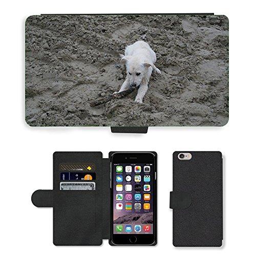Just Mobile pour Hot Style Téléphone portable étui portefeuille en cuir PU avec fente pour carte//m00139937chiot Labrador Chien Blanc//Apple iPhone 6Plus 14cm