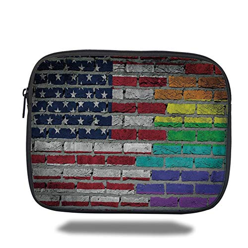 air 2/3/4/mini 9.7 inch,Pride Decorations,Grunge Dark Brick Wall with American and Rainbow Flag Painted Together Decorative,Multicolor,Bag ()