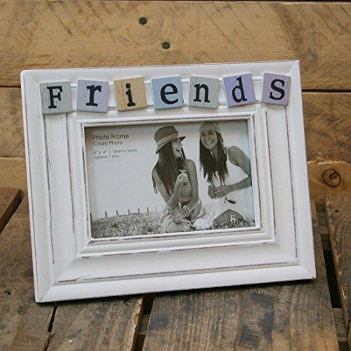 Bilderrahmen, ca. 10 x 15 cm, Shabby Chic, Weiß, Fliesen mit Aufschrift Friends