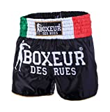 Boxeur Des Rues Fight Activewear, Short Da Kick-thai Bandiera Italiana Uomo, Nero (Black-Italy), M