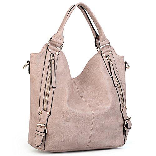 UTO Damen Handtasche Hobo Schultertasche Shopper PU Leder Handtasche Fashion gross Capacity Bags Pink (Leder Bag Hobo Clutch Handtasche)