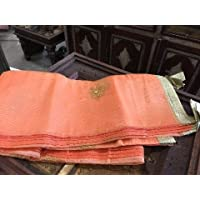 Mogul Interior Indian Sari Curtains Peach Sheer Organza Drapes Panel Window Treatment
