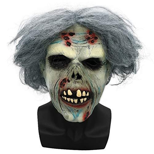 SilenceID Scary Halloween Masken für Erwachsene Walking Dead Zombie Latex Maske mit Haar Cosplay Helm Halloween Kostüm (Heilig Geist Kostüm)