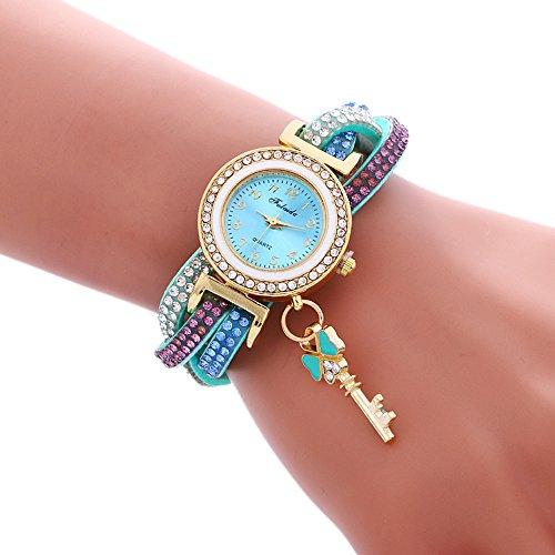 Uhren DamenArmbanduhr Wrap-Around Klassisch Uhr Mode Padlock Diamond Armband Frauen Armbanduhr Quarz Uhr Leder Uhrenarmband Watch,ABsoar