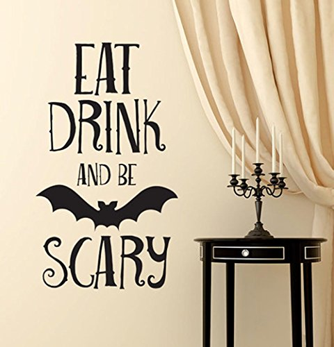 BIBITIME Vivid 3D Scary Halloween Wand Aufkleber Aufkleber Art Home Canvas Dekoration Halloween Reference Bat Eat Drink and Be Scary