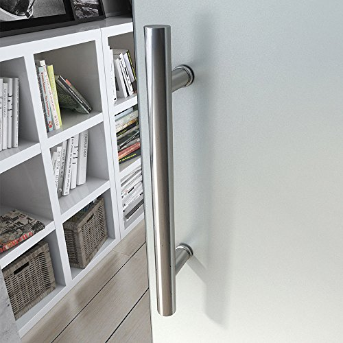 Durovin 775mm Safety Glass Interior Sliding Door Include Hardware Track Kit | Frosted Sections | Bar Handle | Without Soft Close