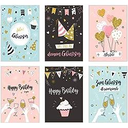 Set 6 exklusive Geburtstagskarten mit Glimmerveredelung und Umschlag. Glückwunschkarte Grusskarte zum Geburtstag. Geburtstagskarte Karte Mann Frau (Doppelkarten/Klappkarten mit Briefumschlag)