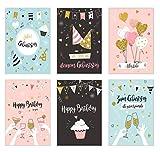 Set 6 exklusive Geburtstagskarten mit Glimmerveredelung und Umschlag. Glückwunschkarte Grusskarte