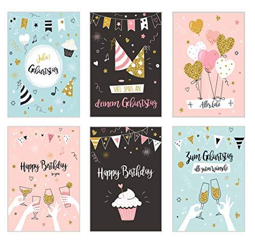 Set 6 exklusive Geburtstagskarten mit Glimmerveredelung und Umschlag. Glückwunschkarte Grusskarte zum Geburtstag. Geburtstagskarte Karte Mann Frau Billet Bilder