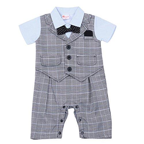 Freebily Baby Junge Bekleidungsset Baumwolle Strampler Romper Gentleman Smokings Babyanzug Kleinkind Festliche Kleidung 68 74 80 86 92 Grau karo 68-74 (Herren Verschönert)