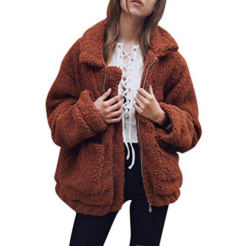 Kostüm Braun Trenchcoat (Elecenty Damen Parkajacke Mantel Langarm Winter Warm Parka Outwear Jacke Pullover Lässiger Sweatshirt Reißverschluss Sweatjacke Oberbekleidung Outdoorjacke Übergangsjacke Trenchcoat (XL, Braun))
