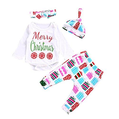 4PCS Tops + Pantaloni + cappello + fascia , feiXIANG Neonato neonato lettera ragazza Romper cime + pantaloni floreali cappello abiti set (12 Mesi, Z#_Bianco)