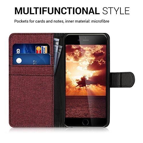 kwmobile Hülle für Apple iPhone 6 / 6S - Wallet Case Handy Schutzhülle Kunstleder - Handycover Klapphülle mit Kartenfach und Ständer Anthrazit Schwarz .Dunkelrot Schwarz